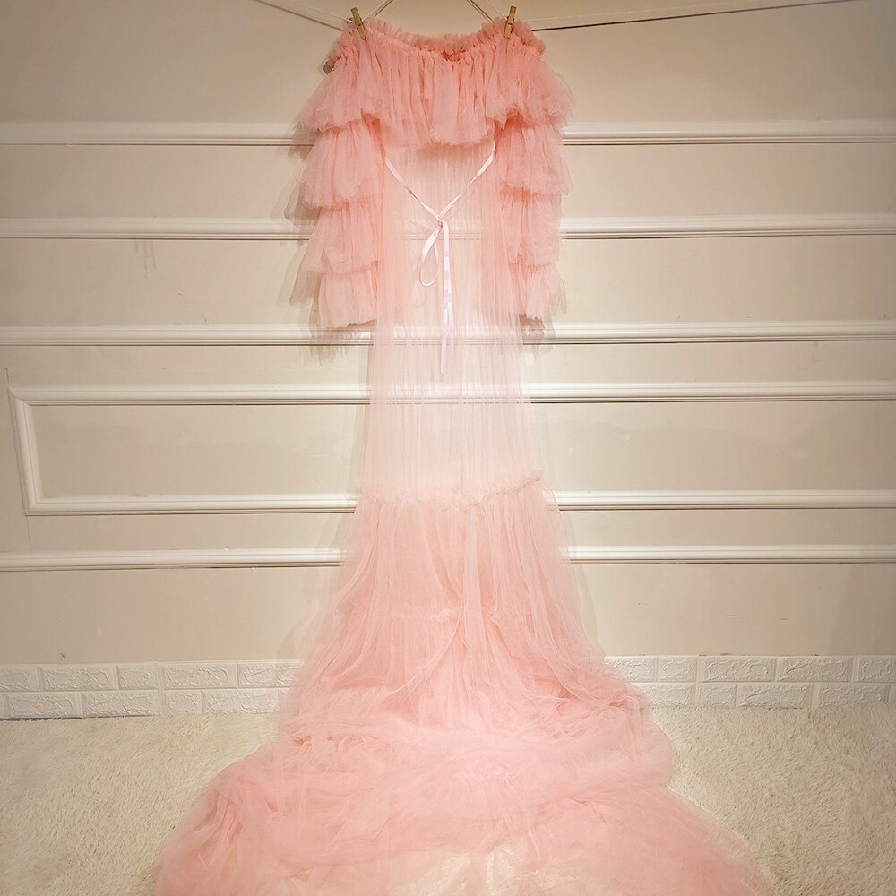 Maxi Long Ruffles Soft Tulle Maternity Dress Photo Shoot Pregnancy Boob Tube Gown for Woman Photography Prop Baby Shower Robe enlarge