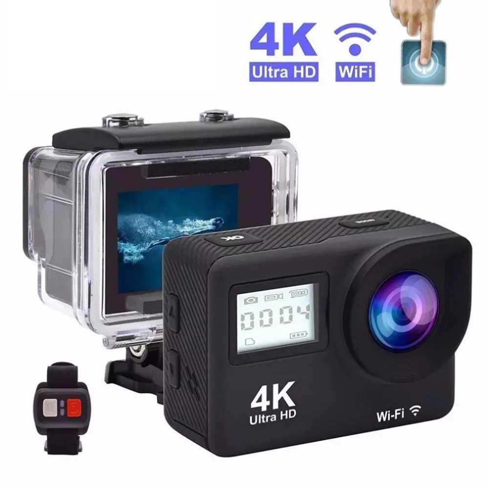 4K Ultra HD Action Camera Dual LCD Screen WiFi 12MP 170D Go Waterproof Pro Sport DV Helmet Video Camera With 2.4G Remote Control