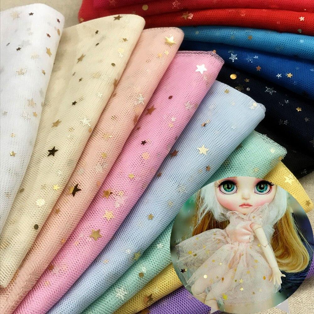 Estrela brilhante malha tule tecido para boneca vestido de casamento vestuário decoração material diy boneca roupas costura material acessórios