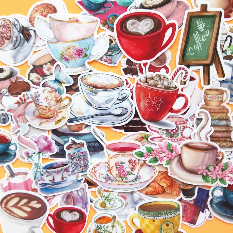 38PCS Coffee cup Stickers Crafts And Scrapbooking stickers kids toys book Decorative sticker DIY Stationery недорого