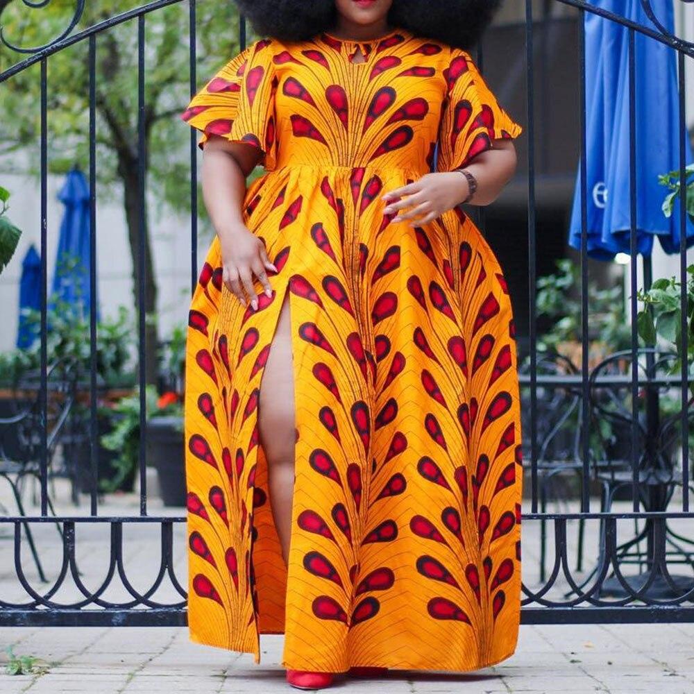 Vestido de talla grande para mujer, cuello redondo, manga corta, estampado, cintura alta, gran oscilación, largo, suelto, Sexy, para fiesta, noche, para madre, aime26