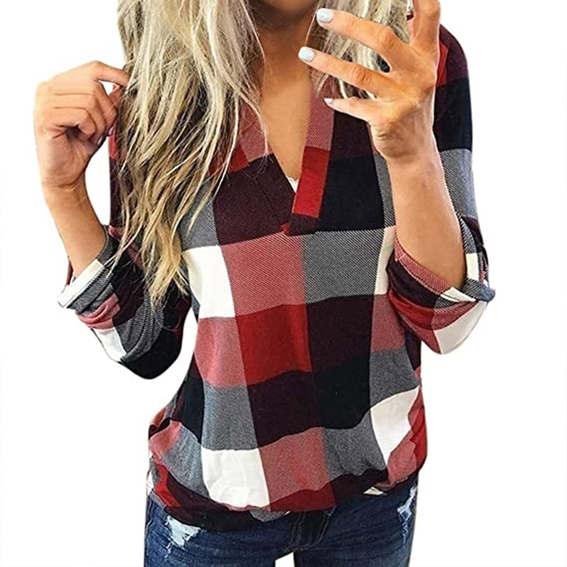 Hot Women Long Sleeve Flannel Plaid Shirt Pullover V Neck Tops Casual Loose Boyfriend Tunic T Shirts Blouses DO2