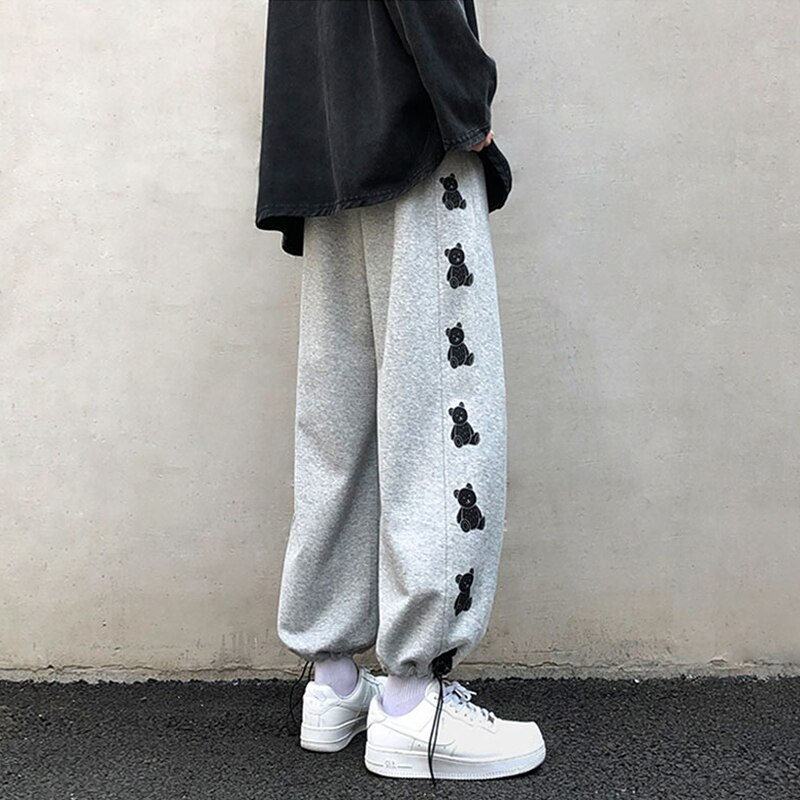 INS Super Popular Bear Ankle Banded Pants Female 2021 New All-Matching Drawstring Loose Wide Leg Pan