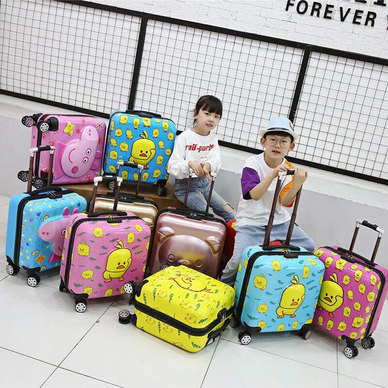 Edison bagages de voyage pour enfants 3D ours stéréo 20 châssis de planche à bagages pour enfants ABS matériel fermeture éclair valise Anti-stress