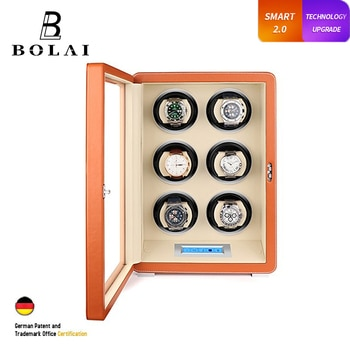 Luxury Watch Winder 6 Slot Automatic Mechanical Watches Storage Box High Gloss Wood Leather LCD Touch Screen and Remote Control