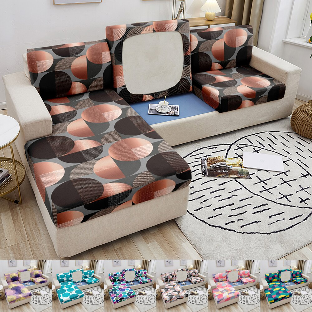 Фото - Elastic Sofa Seat Cushion Cover Stretch Seat Cushion Cover Couch Slipcover Geometric Circle Slipcover for Living Room Decoration microsuede couch slipcover cream 270 x 350 cm