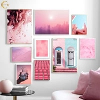 pink sky new york city beach door feather canvas painting nordic wall art posters and prints wall pictures for living room decor
