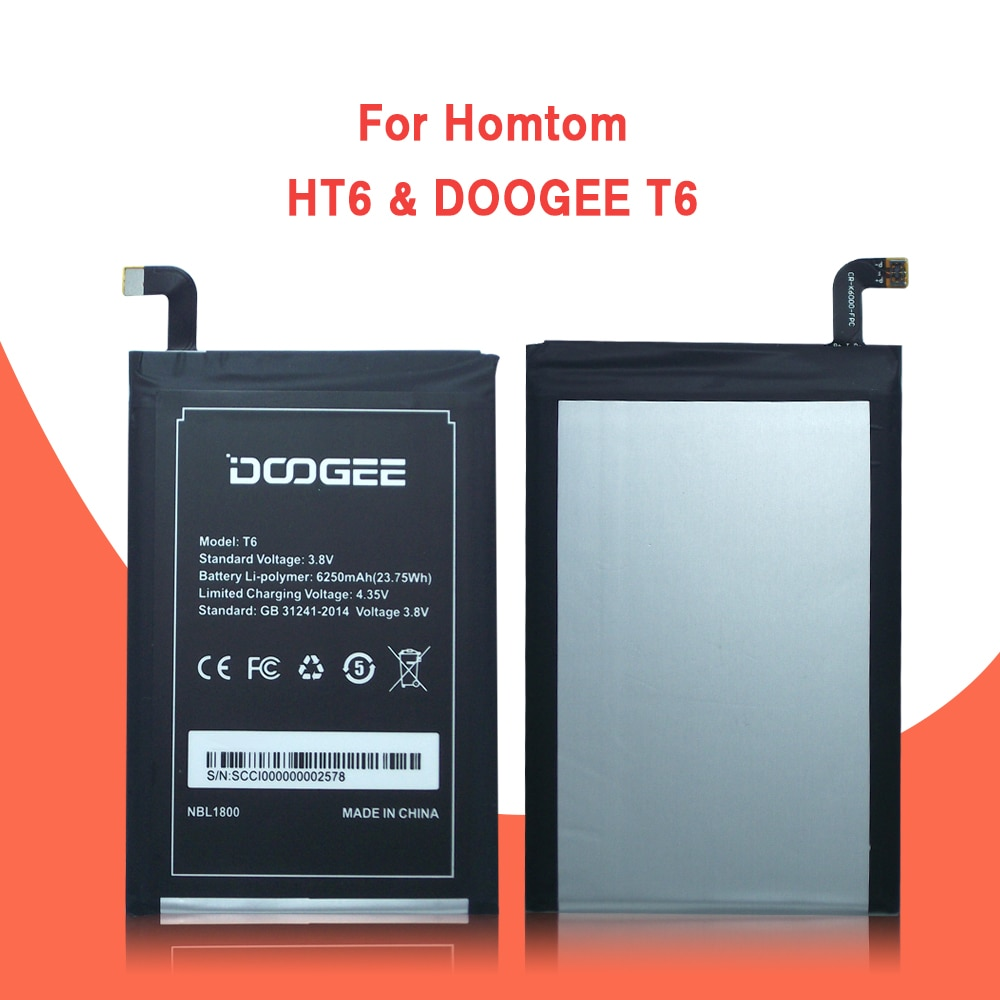 DOOGEE T6 pro Battery 6250mAh 100% Original New Replacement accessory accumulators For DOOGEE T6 Smart Phone+Tracking + Tools enlarge