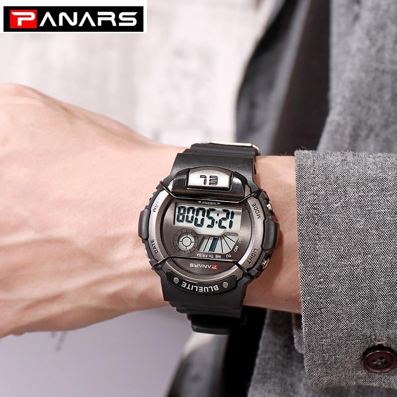 PANARS Watches Mens Luxury Shock Waterproof Men's Sports Watch Boys LED Alarm Digital Military Wrist