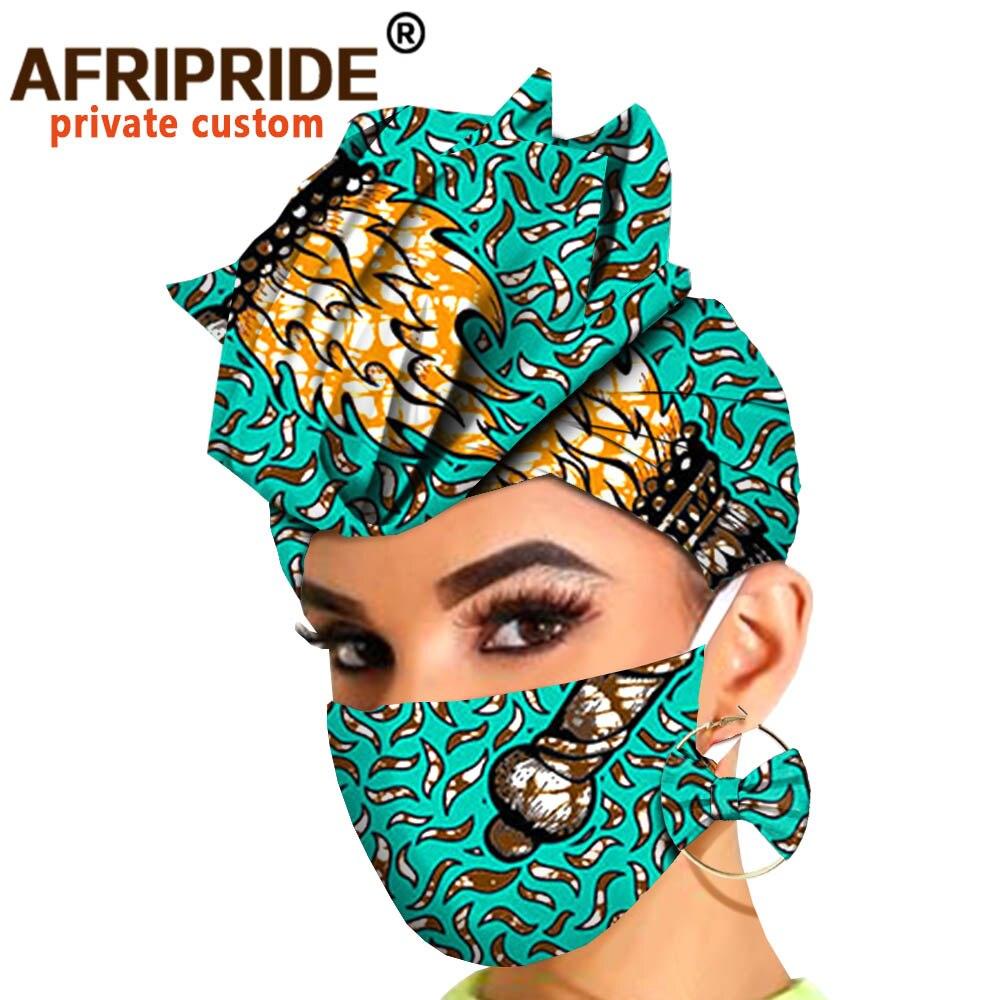 Turbantes africanos, pendientes estampados, diadema, gorro, cera Ankara, pañuelo africano, accesorios para la cabeza, máscara a juego, estampado A20H010