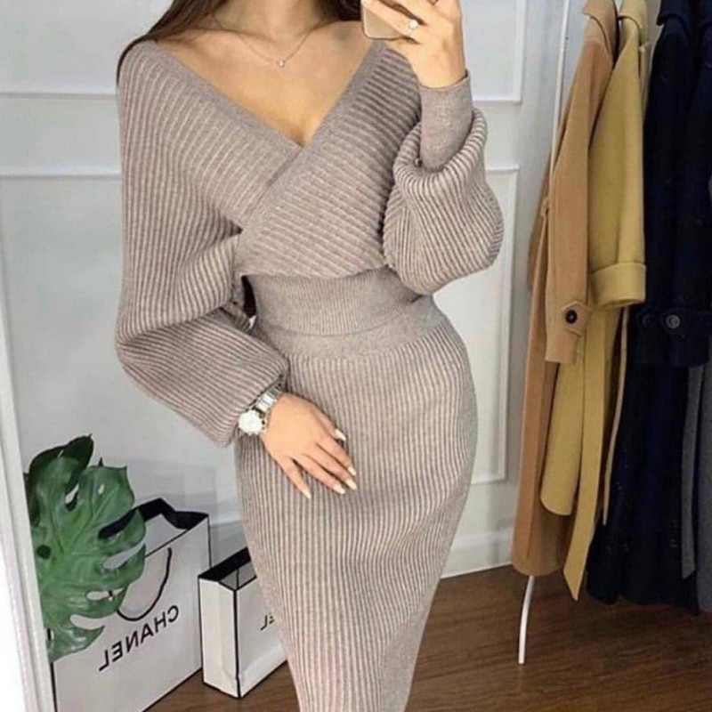 2019 suéter de punto con cuello en V conjunto de falda de 2 jerseys de pieza para mujer traje Casual hombro fuera conjunto de cadera para mujer