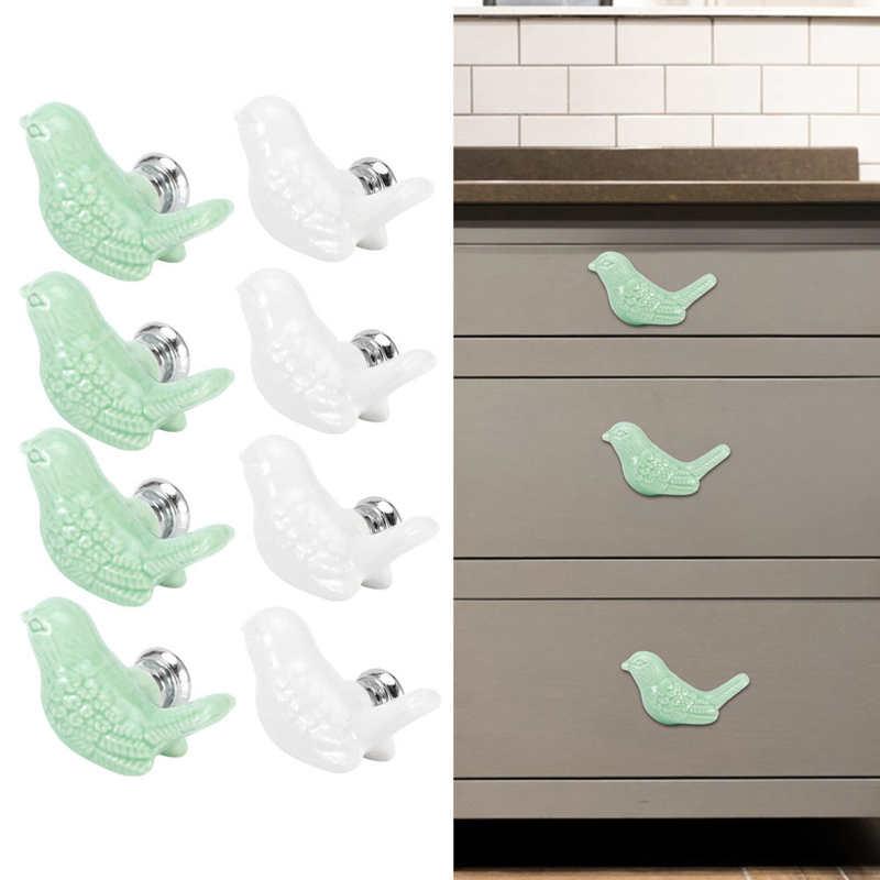 4 pièces bouton en céramique en forme doiseau bricolage porte tiroir placard poignée de traction accessoires de meubles