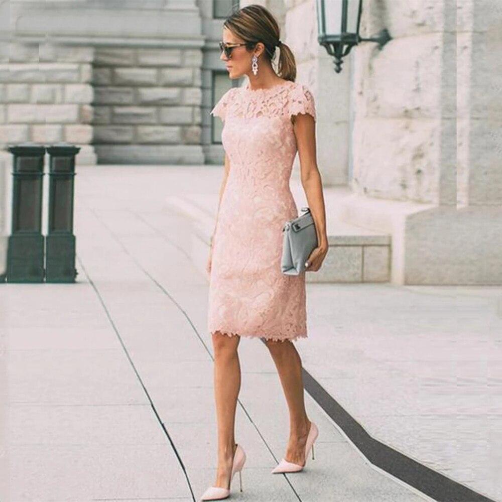 Женское-кружевное-Платье-До-Колена-розовое-платье-футляр-для-матери-невесты-с-коротким-рукавом-и-круглым-вырезом-свадебное-платье-для-гос