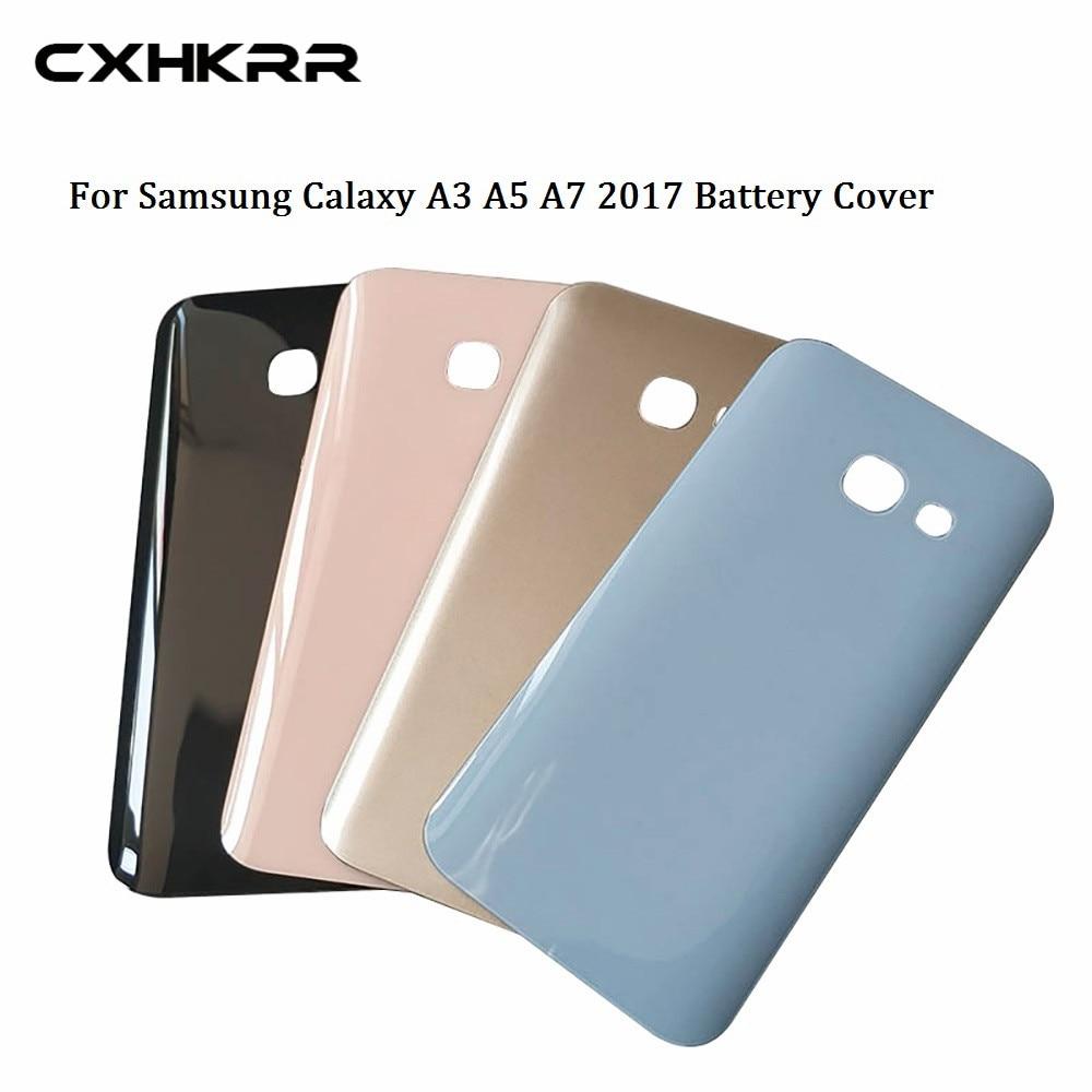 Cristal trasero para Samsung Galaxy A3/A5/A7 2017 A320 A520 A720 cubierta trasera de la batería carcasa de la puerta trasera con pegatina adhesiva