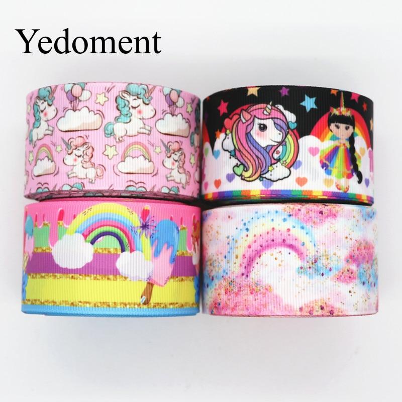 10 Yards 1.5'' 38MM Rainbow Printed Grosgrain Ribbons For Hair Bows DIY Handmade Materials Y19102205