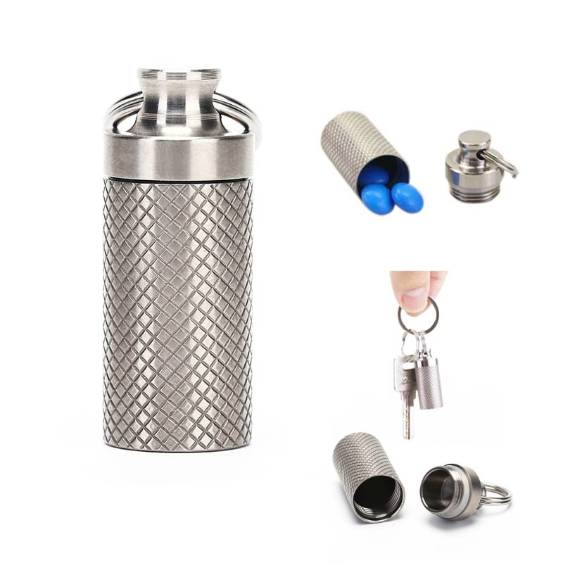 Titanium Alloy Waterproof Pill Box Case Container Survival Kit Cases Bottle Holder Container For Medicines cnc pure titanium waterproof storage tank sealed tank titanium alloy high end portable medicine bottle outdoor pill cases