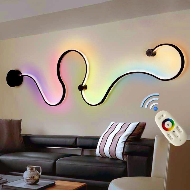 Современная Rgb светодиодная настенная лампа с дистанционным управлением цветные настенные светильники на стенные для лестниц спальни алюм...