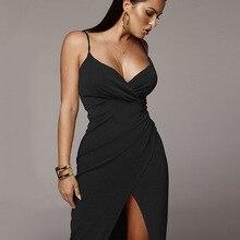 JS671J-2020 new womens sexy suspender V-neck dress spring and summer long dress