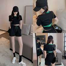 Casual Fashion Set Women's New 2021 Summer Thin Short-Sleeved T-shirt Sports Shorts Black Two-Piece