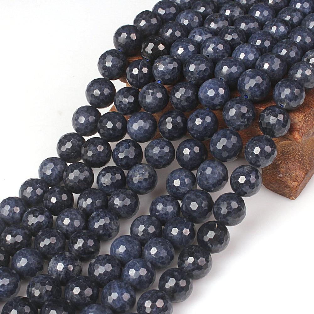 Natural Round Sapphire 128cut Gemstone Loose Beads 6 8 10 mm For Necklace Bracelet DIY Jewelry Making high quality round brilliant cut sapphire loose stone gic certificate sapphire loose gemstone from sapphire mine in china