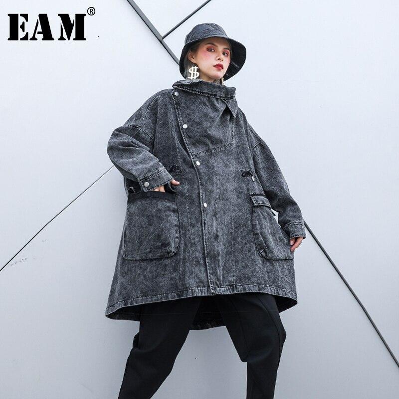[EAM] chaqueta vaquera holgada de corte largo de gran tamaño con solapa nueva de manga larga para mujer, abrigo a la moda para Otoño e Invierno 2020 1H344