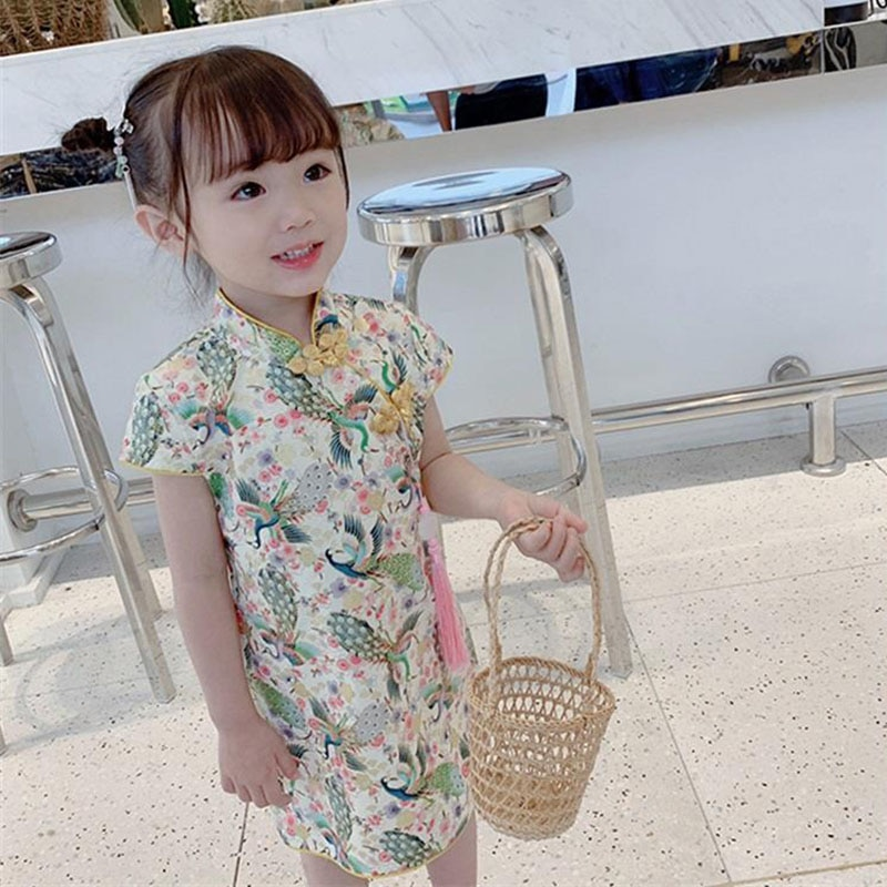 chinese style winter girls dress long sleeve embroidered cheongsam princess dresses for girls birthday party dress kids clothing Kids Girls Dresses Floral Baby Girl Dress Children Chinese Traditional Cheongsam Costume For Child Girls Clothing