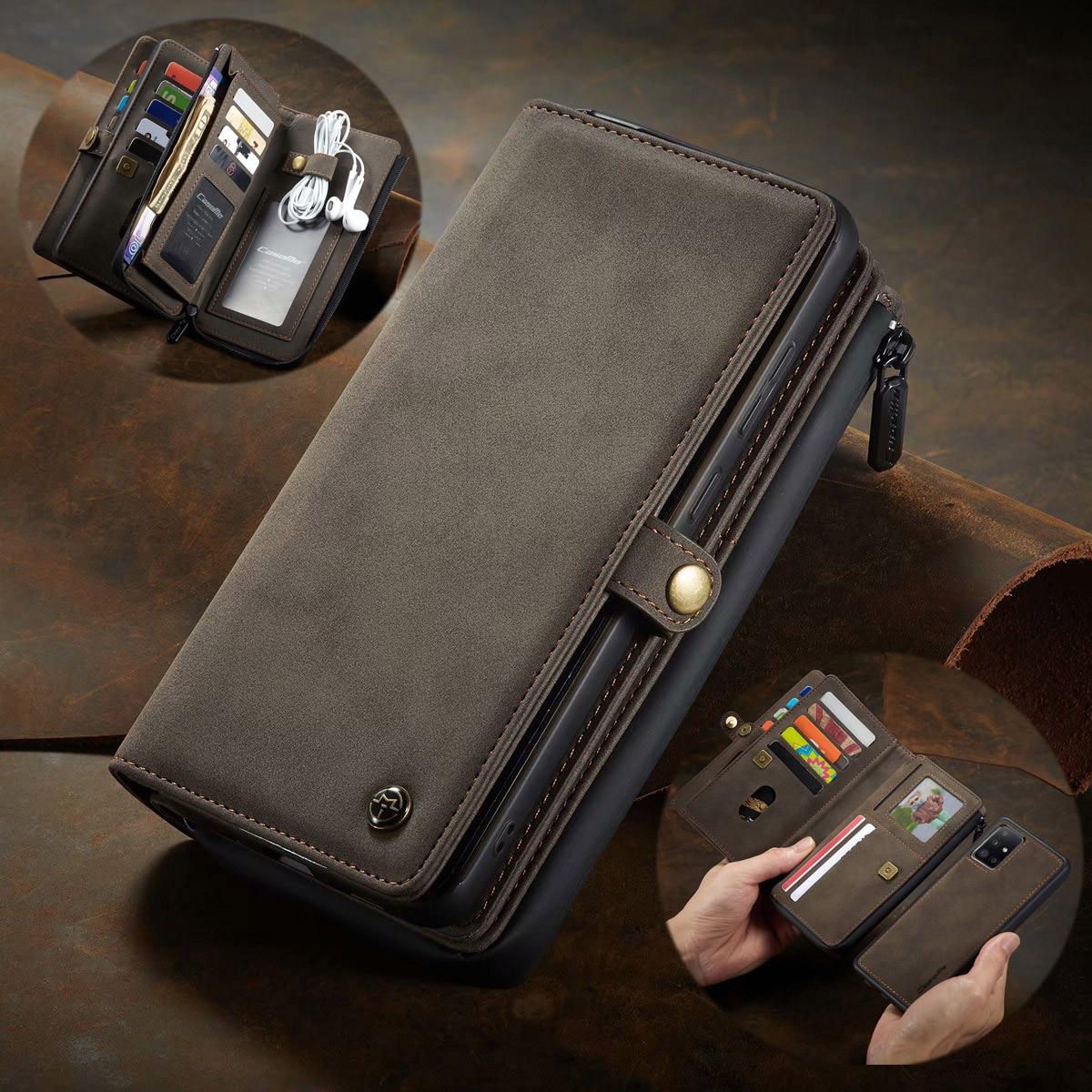 انفصال الهاتف الحال بالنسبة لسامسونج A51 4G خمر الجلود سستة جيب المحفظة حامل بطاقة قذيفة غطاء لسامسونج غالاكسي A71 4G