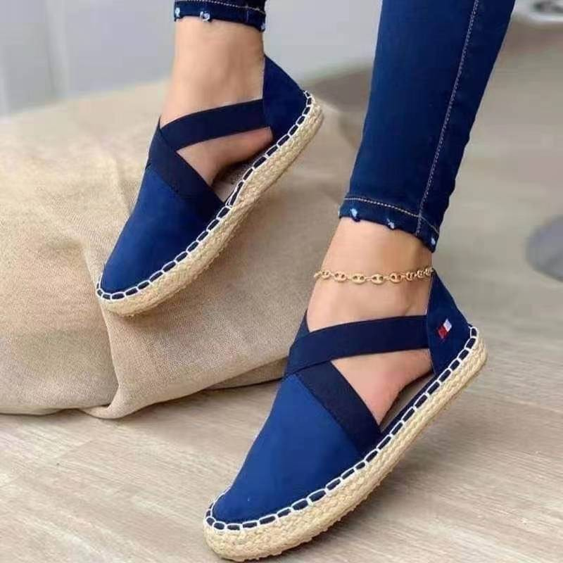 Verano rayas plataforma sandalias cuñas zapatos para mujer cuerda de cáñamo Fondo...