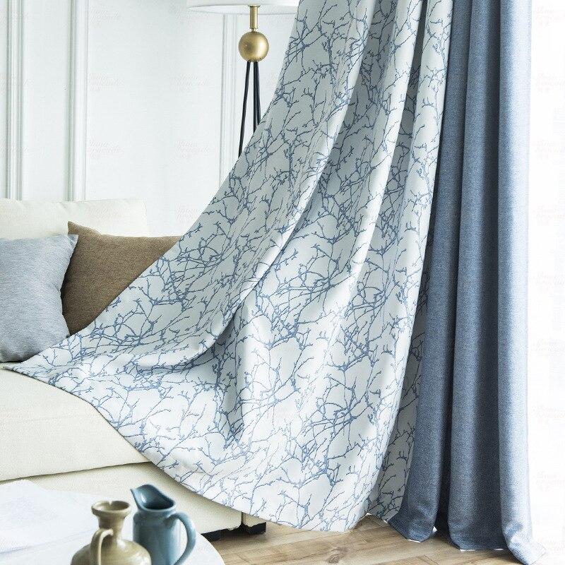 الشمال الحديثة الأزرق خياطة الملمس الستائر لغرفة المعيشة غرفة نوم خياطة الجاكار موضة الراقية ستائر التعتيم