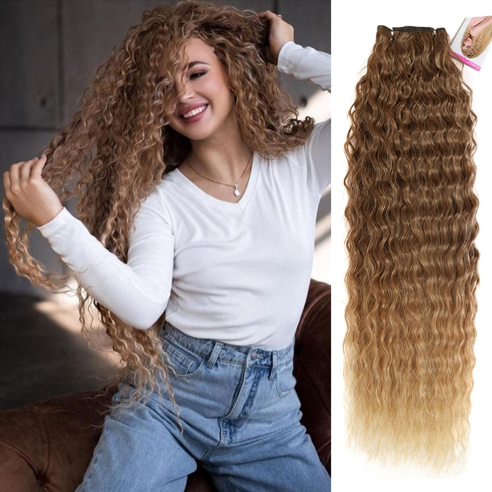 linlin indian human hair afro kinky curly hair 3 bundles weave extension hair bundles hair rollers wigs can dyed FASHION IDOL Kinky Curly Hair Extensions Ombre Brown Hair Bundles 28-32Inch Super Long Hair Synthetic Weave Loose Deep Wave Hair