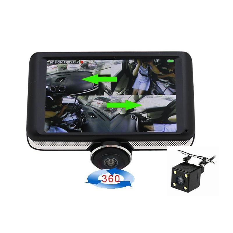 360 Car DVR recorder 4.5 inch IPS HD display screen Car DVR Camera Dual Lens Dash Cam Rear View  Lens Night Vis