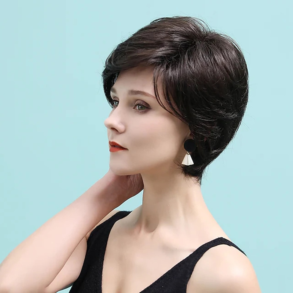 layered tail adduction long oblique bang siv human hair wig Remy Human Hair Wig short Layered Haircut costume wig Neat Bang With Bangs Chestnut Brown Women Natural costume wigs Pixie Cut