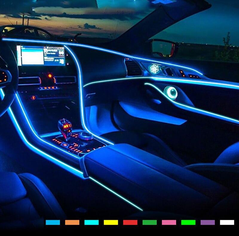Car Interior lights EL Wire Ambient LED Flex Rgb Strip Auto Flexible Atmosphere Neno Tube Soft USB Lamp Lighting Rope Tape Light