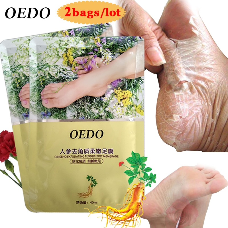 4 pçs cuidados com a pele extrato de ginseng remover pé máscara de pele morta peeling pé esfoliante pele meias clareamento beleza pés cuidados creme