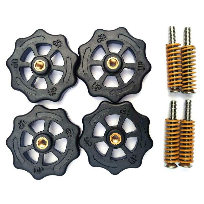 4 piezas de tuerca de acondicionamiento retorcida a mano grande y 4 piezas de cama caliente resorte moldeado a presión ligeramente cargado y 4 piezas de tornillo M4X35