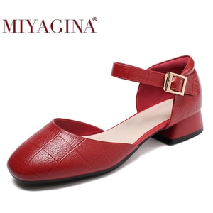New Fashion Ankle Strap Low Heels Sweet Women's Pumps Spring Summer Genuine Leather Woman Party Shoes Buckle Ladies Footwear