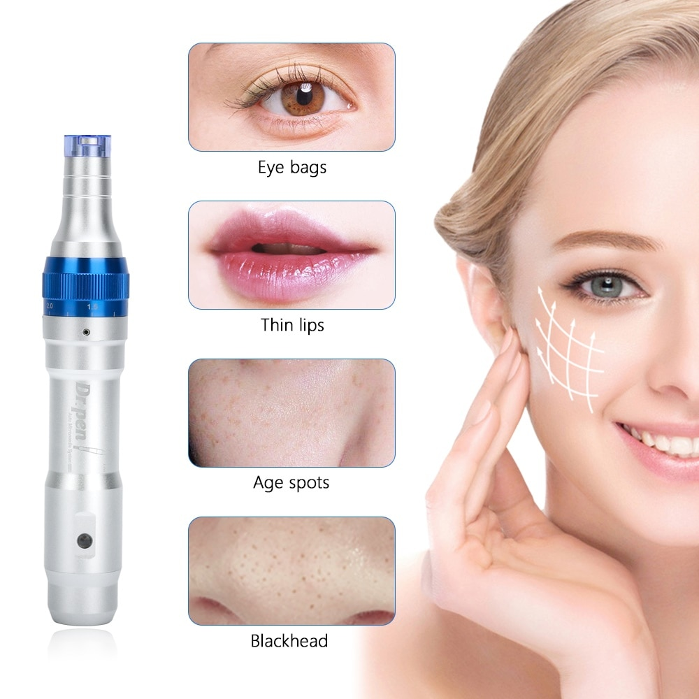 Ultima A6 Electric Derma Pen with 12Pin Needles Stretch Marks Wrinkle Remove Eyebrows Eyeliner Lips Skin Micro Needling Tool