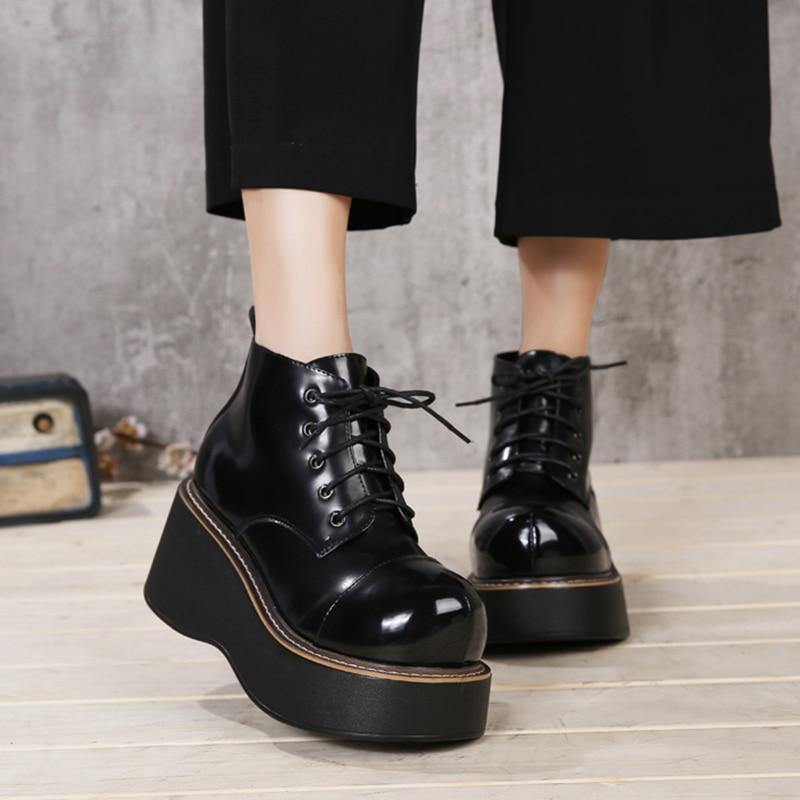 2018 vallu sapatos femininos botas de cunha rendas até os dedos redondos plataforma tornozelo botas de couro genuíno senhora botas casuais