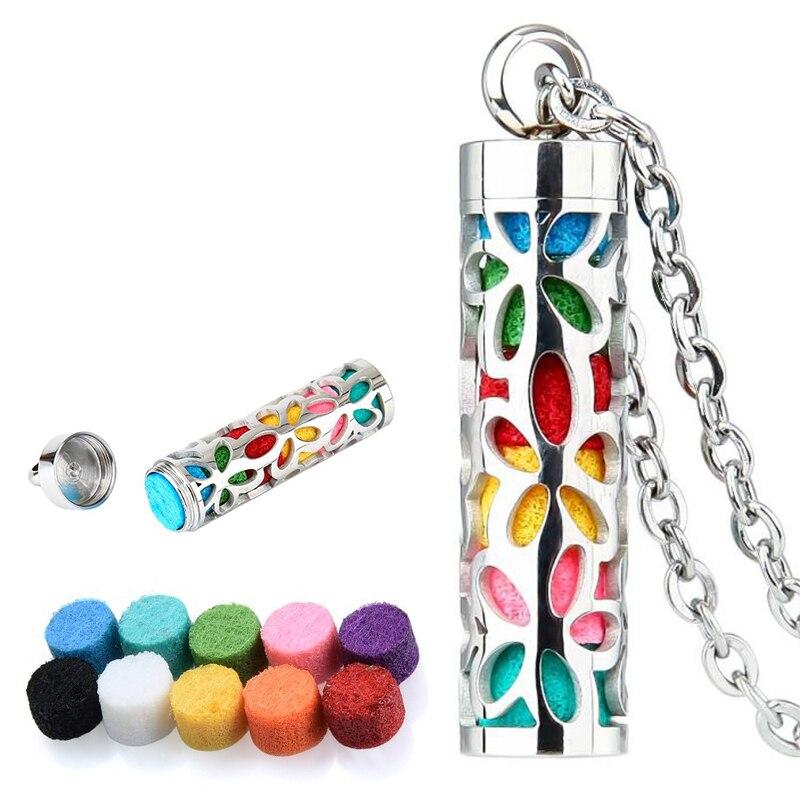 Aromaterapia collar de cadena de acero inoxidable de COLGANTE DIFUSOR collar con perfume botella de joyas de plata con 8/10 Uds almohadillas de fieltro