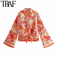 TRAF moda donna con fiocco legato Totem stampa asimmetria camicette Vintage manica lunga abbottonatura camicie femminili top Chic