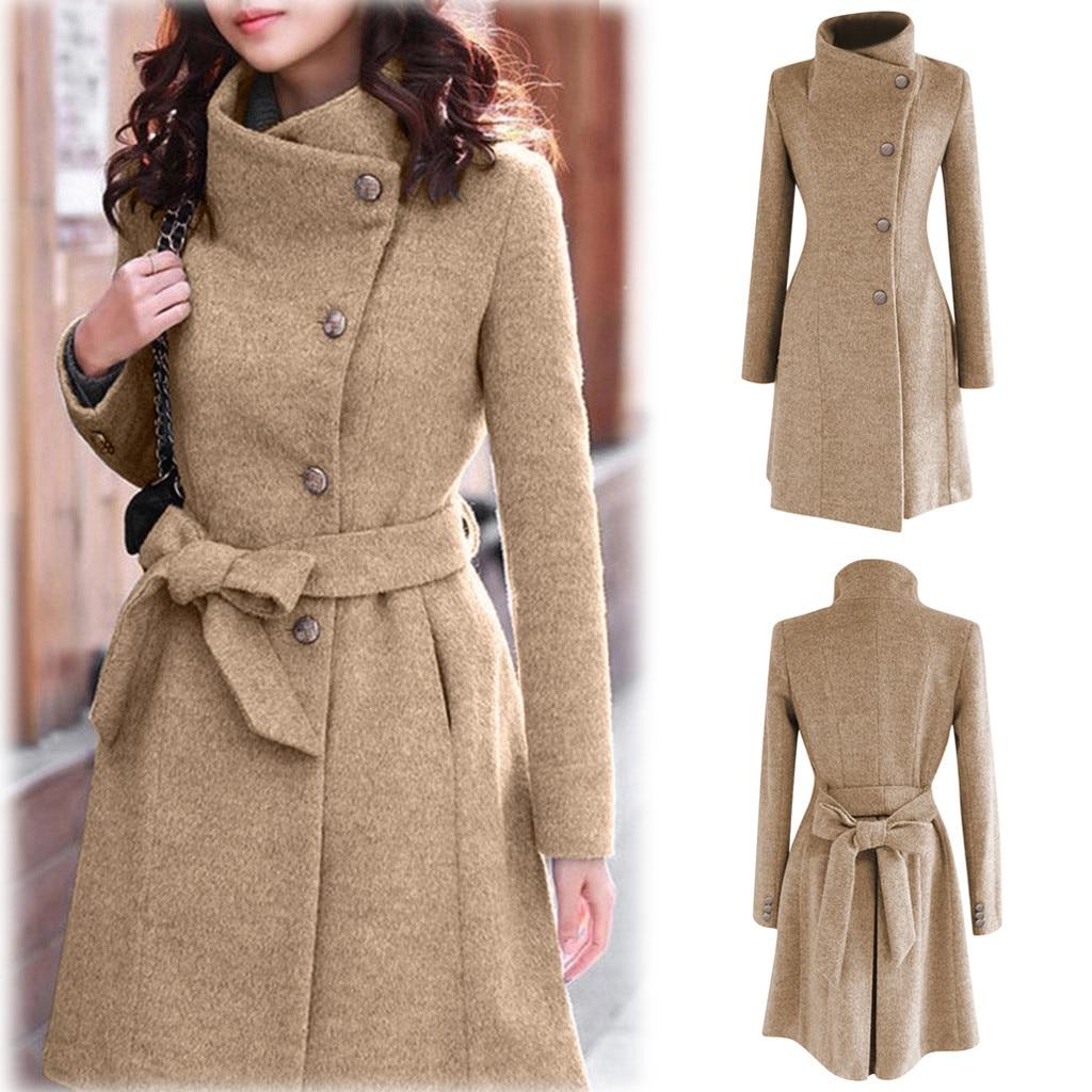 2020 mujeres de Invierno abrigo de lana solapa Trench manga larga chaqueta...
