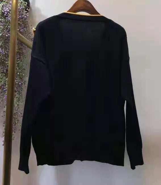 High Quality New Sweater Cardigans 2021 Autumn Winter Knitwear Women V-Neck Beading Deco Long Sleeve Black White Cardigan Tops enlarge