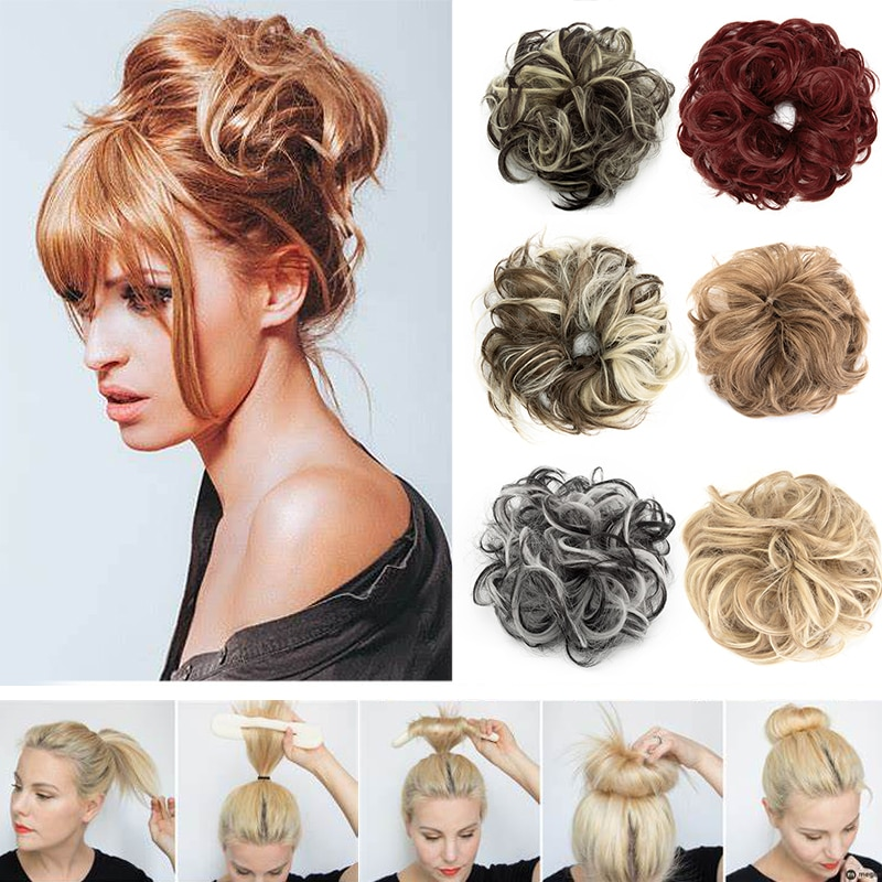 bun bun button Hair Bun Extensions Wavy Curly Messy Donut Chignons Hair Piece Wig Hairpiece,messy Bun,hair Elastic Bun Messy Hair Bun Hair
