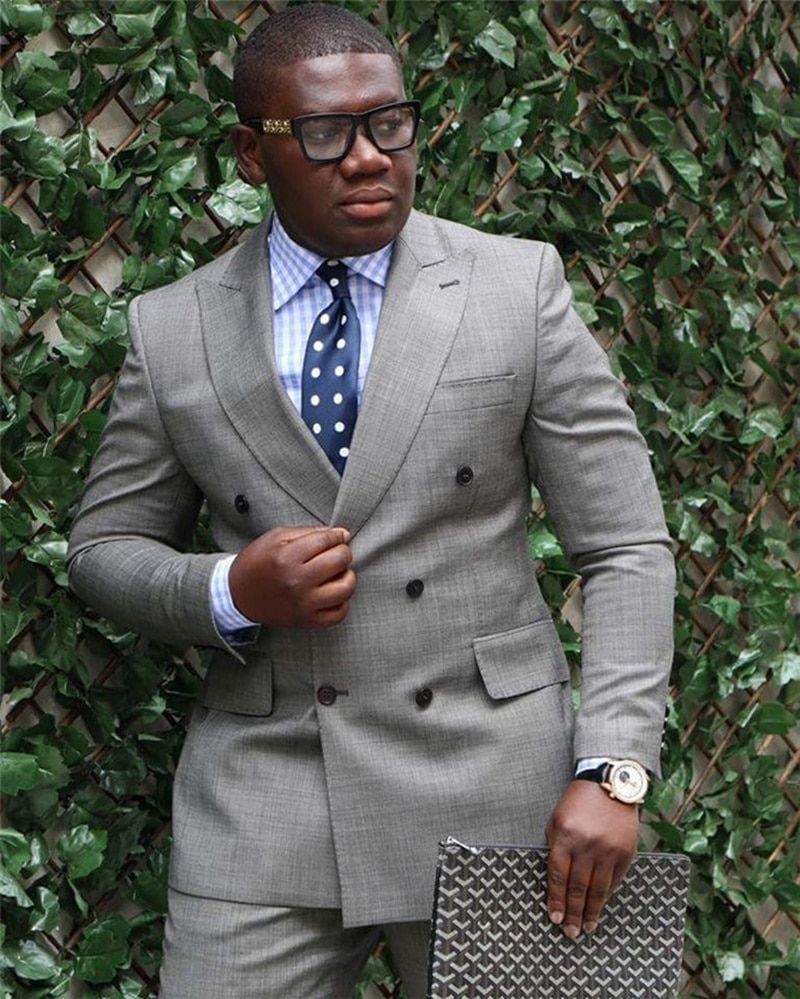 Handsome Double-Breasted Groomsmen Peak Lapel Groom Tuxedos  Men Suits Wedding/Prom/Dinner Best Blazer(Jacket+Pants+Tie) 128