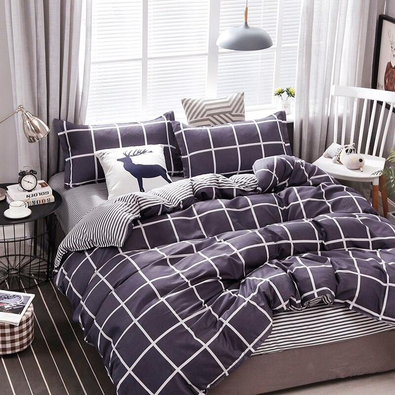 طقم أغطية سرير مربعات ، طقم غطاء لحاف فاخر على الوجهين ، أبيض وأسود ، مقاس كينغ/كوين