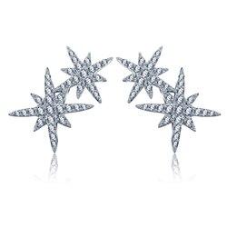 Tiny Trendy Zirkonia Kristall Doppel Sterne Luxus Pflastern Cz Stein Stud Ohrringe Für Frauen Mode Schmuck 2019 E-H0347