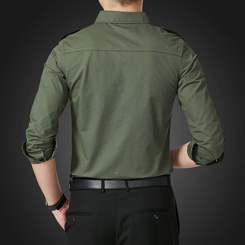 Primavera otoño para hombre de manga larga de solapa de un solo pecho Camisa de carga estilo de Safari ajuste Delgado coreano de talla grande M-5XL Camisa Masculina