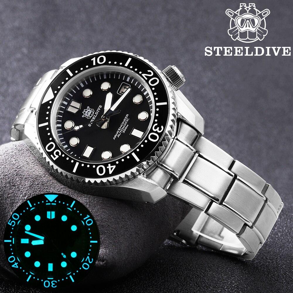 ساعة يد أوتوماتيكية للرجال من steelالغوص موديل 1968 SKX001 ساعات غوص غير محددة 300 متر ساعة يد ميكانيكية رجالية فاخرة يابانية C3 فائقة مضيئة