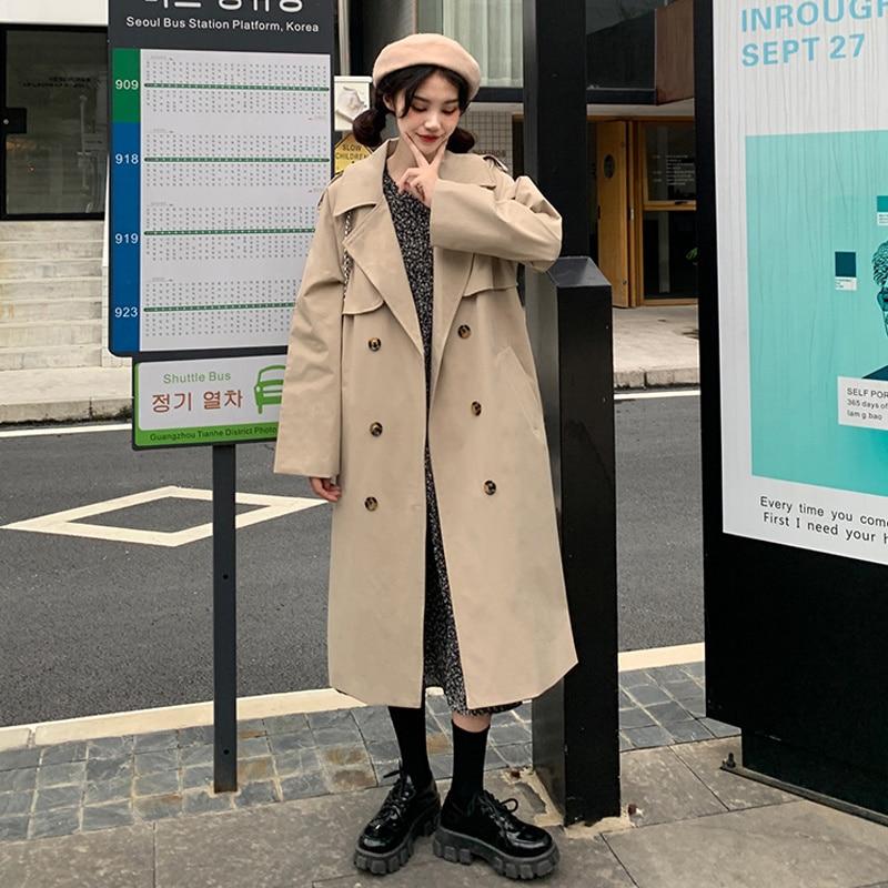 Overcoat Women Autumn Korean 2021 Loose Fashion Versatile Medium And Long Knee Length Suit Collar Lo