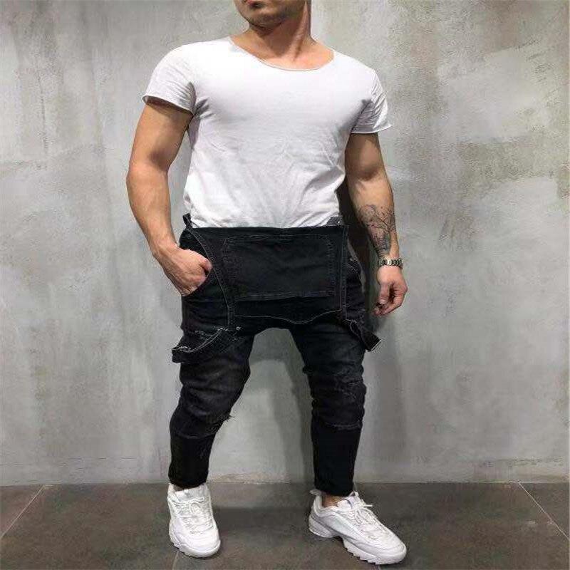 Мужские брюки, комбинезоны больших размеров с дырками, микро-эластичные синие и черные повседневные модные облегающие джинсы со средней та...
